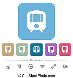 Train flat icons on color rounded square backgrounds