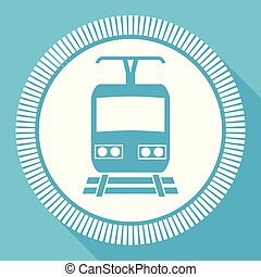 Train flat vector icon, metro square blue web button