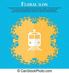 train. Floral flat design on a blue abstract background with place for your text. Vector