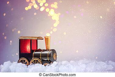 train, fond, noël, guirlandes, neige, lumières, bokeh