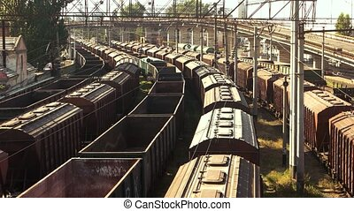 Train freight transportation platform. Aerial view....