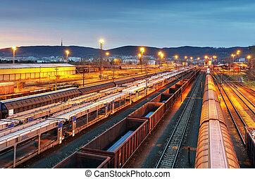 train, fret, -, cargaison, chemin fer, industrie