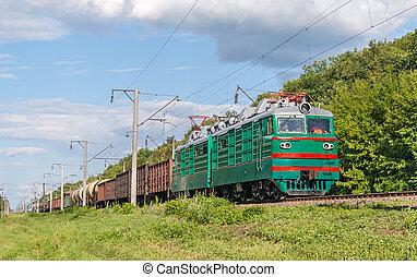 train fret, hauled, par, électrique, locomotive., ukrainien, chemins fer