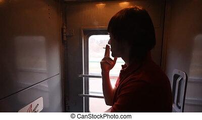 train, fumées, homme