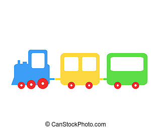 Train - Funny toy train, colored illustration with train