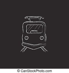 train., giz, frente, desenhado, icon., vista
