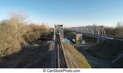 Train goes over the bridge
