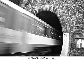 Train Going trough the underground tunnel