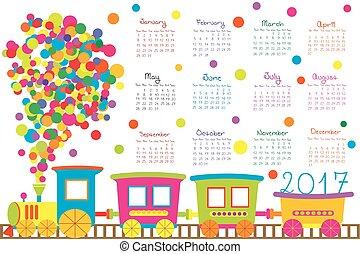 train, gosses, calendrier, dessin animé, 2017