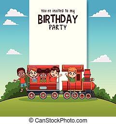 train, gosses, carte, anniversaire, heureux