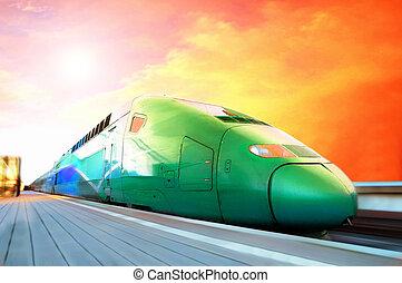 train grande vitesse, à, ternissure mouvement, extérieur