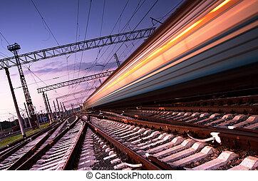 train grande vitesse, à, ternissure mouvement