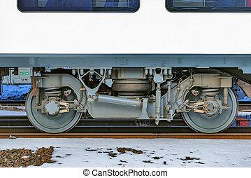 train, grande vitesse, debout, station., roues