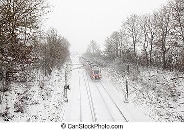 train, hiver, chute neige