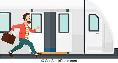 train., homem, ausente