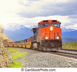train., hosszú, rakomány