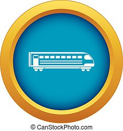Train icon blue vector isolated