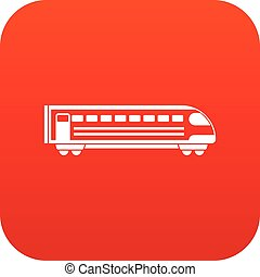 Train icon digital red