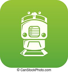 Train icon green vector