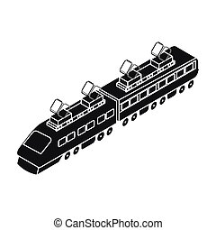Train icon in black style isolated on white background. Transportation symbol stock vector illustration.
