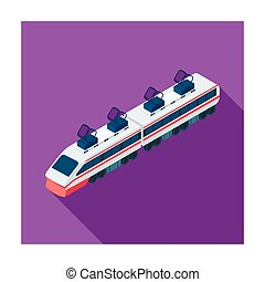 Train icon in flat style isolated on white background. Transportation symbol stock vector illustration.