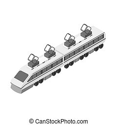 Train icon in monochrome style isolated on white background. Transportation symbol stock vector illustration.
