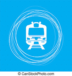 Train icon on a blue background with abstract circles around and place for your text.