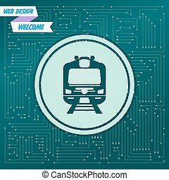 Train icon on a green background, with arrows in different directions. It appears  the electronic board. Vector