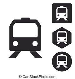 Train icon set, monochrome