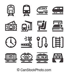train icon set, vector and illustration