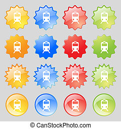 train icon sign. Big set of 16 colorful modern buttons for your design.