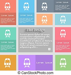 Train icon sign. Set of multicolored buttons. Metro style with space for text. The Long Shadow Vector