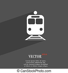 train icon symbol Flat modern web design with long shadow and space for your text. Vector