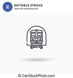 Train icon vector, filled flat sign, solid pictogram isolated on white, logo illustration. Train icon for presentation.