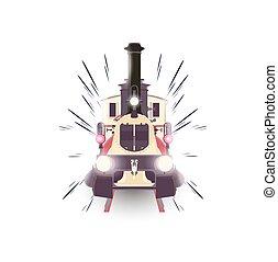 Train icon vector locomotive travel railway transportation vintage isolated design express illustration