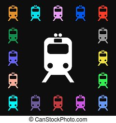 train iconi sign. Lots of colorful symbols for your design. Vector
