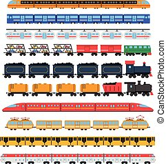 Train icons set with passenger and cargo transport isolated...