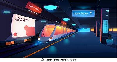 Train in metro station at night time, platform