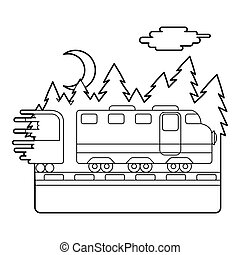 Train in night rides through forest concept