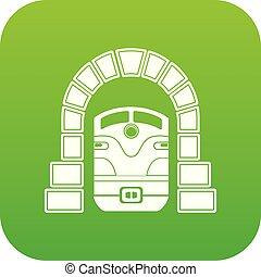 Train in tunnel icon green vector