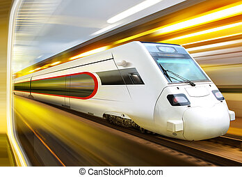 train in tunnel - super streamlined train with motion blur...