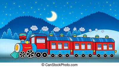 Train in winter landscape