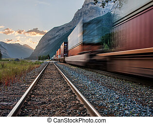 Train in Yoho National Park Near Kicking Pass - Photo...