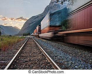 Train in Yoho National Park Near Kicking Pass - Photo...