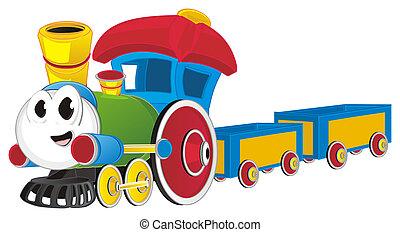 train jouet, coloré, heureux