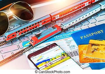 train jouet, ordinateur portable, billets, cahier, banque, passeport, ou, carte