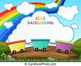 Train kids on the nature and rainbow background