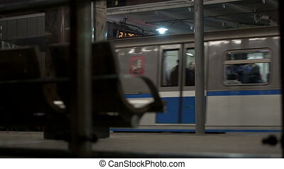 Train leaving metro station in Moscow