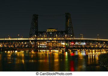 Train Light Trails Over Steel Bridge