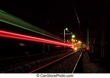 Train lights trail - Train tracks with train lights trail...